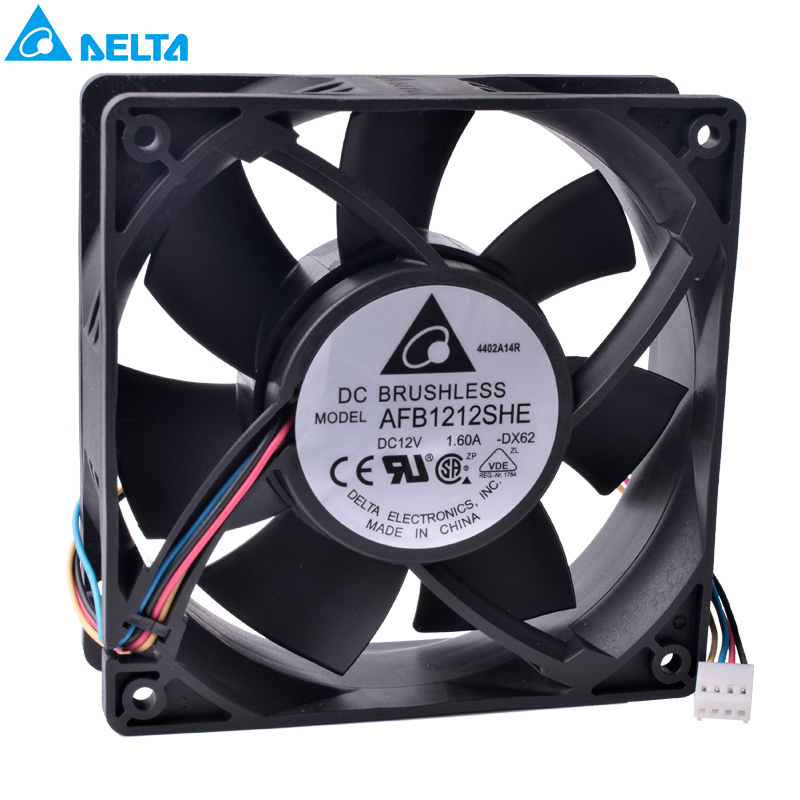 DELTA AFB1212SHE 12V 1.6A 4-wire 4Pin PWM double ball bearing cooling fan