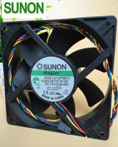 SUNON KDE1212PMV1 12CM 138 12V 8.4W 4-line Mute High Wind Temperature Control Case Cooling Fan
