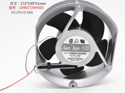 SANYO 109E5724H503 Aluminum frame Double ball fan DC24V 0.58A 172*150*51MM 2pin