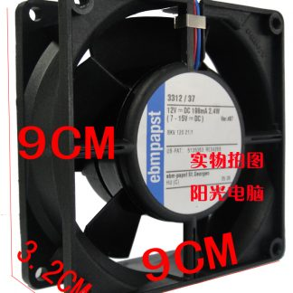 Original EBM PAPST 3312/37 12V 0.198A 2.4W 92*92*32MM computer case cooling fan