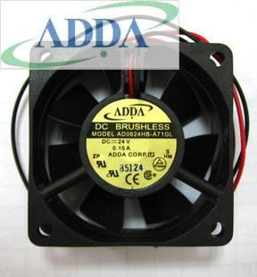 ADDA AD0624HB-A71GL 6025 6cm 60mm DC 24V 0.15A 2Wire DC Brushless axial server inverter Cooling Fan