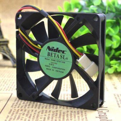 NIDEC D08R-12TS103B 80*80*15mm DC 12V 0.09A 8CM 3 Wire Ultra Quiet Cooling Fan