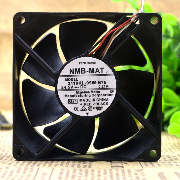 NMB 3110KL-09W-B75 24.5V 0.21A 8CM 8025 80*80*25 4-wire machine fan