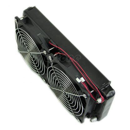 2 x 1 fan 240MM Aluminum Computer Cooler Small Cooling Fan PC Black Heat Sink, Computer Water Cooling Radiator Cooler Fan