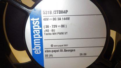 EBM PAPST 5318/2TDH4P 48V FAN 140MM X 140MM X 50.8MM 394.3CFM 90RPM NNB