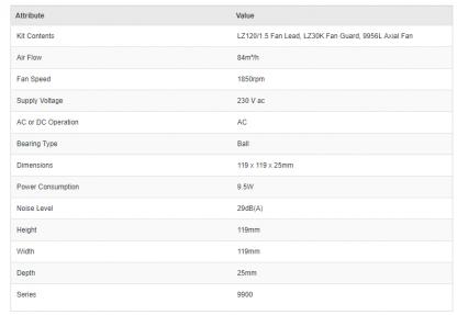 ebm-papst 9956L-KRO, 9956L-KR0 AC 84m³/h 1850rpm 9956L Axial Fan Kit
