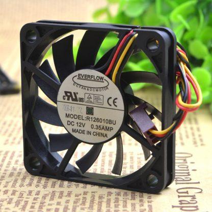 EVERFLOW R126010BU 60x60x10mm 12V 0.35A 3Pin Computer CPU Cooler Cooling Fan