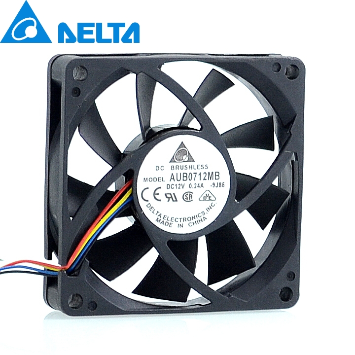 Delta New and Original AUB0712MB 7015 12V 0.24A 7cm 4 -pin PWM CPU cooling fan for 70*70*15mm