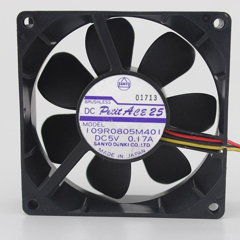 SANYO 109R0805M401 DC5V 0.17A vitesse 3 fils ventilateur 8cm