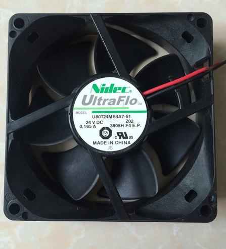 Nidec U80T24MS4A7-51 80 * 80 * 25mm 24V 0.165A 8CM ventilador de enfriamiento
