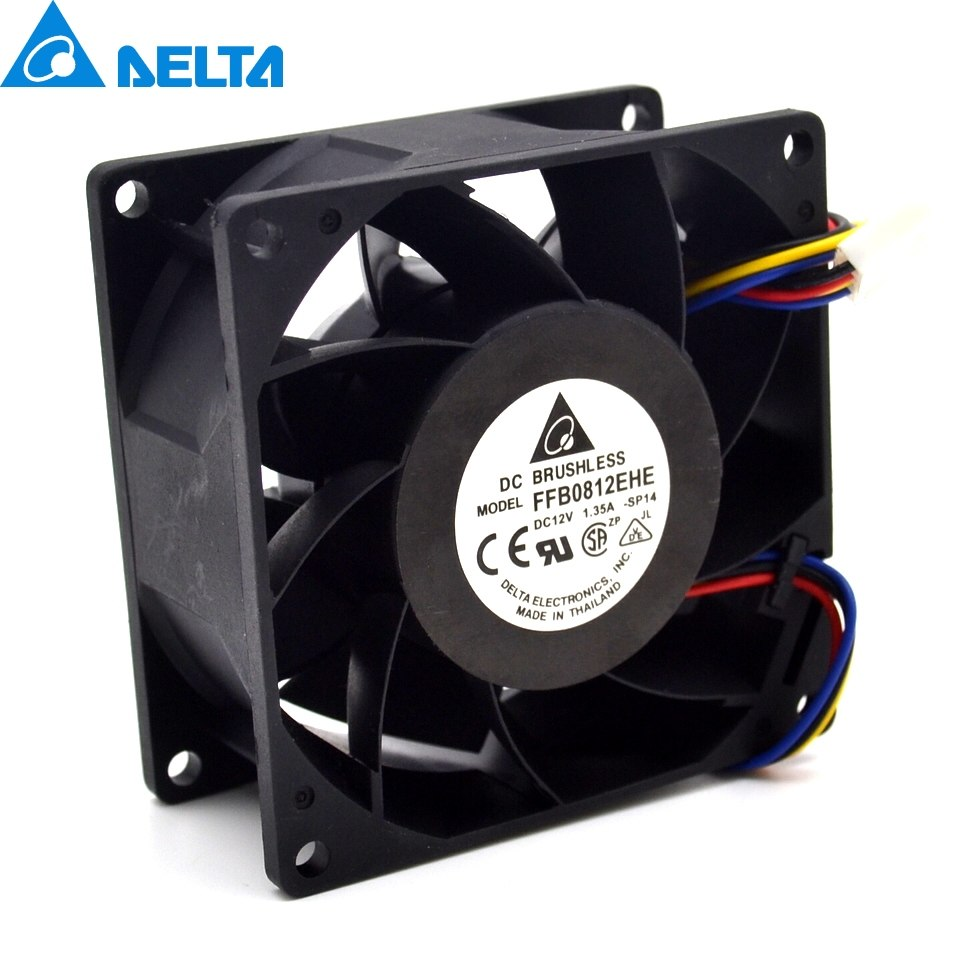 Delta FFB0812EHE 8CM 80MM 8*8*3.8CM 80*80*38MM 12V 1.35A Need double ball bearing fan