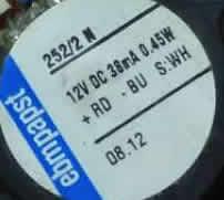EBMPapst 252/2N 12V DC 38mA 0.45W Axial Fans
