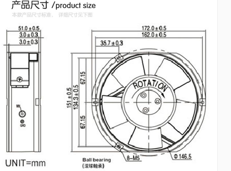 ventilador de refrigeración Delta EFB1548VHG DC48V 0.83A Axial