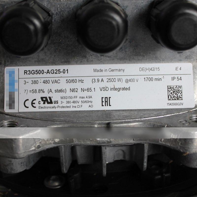 Ebmpapst R3G500-AG25-01 380V-480V 3.9A 2500W IP54 centrifugal turbine fan
