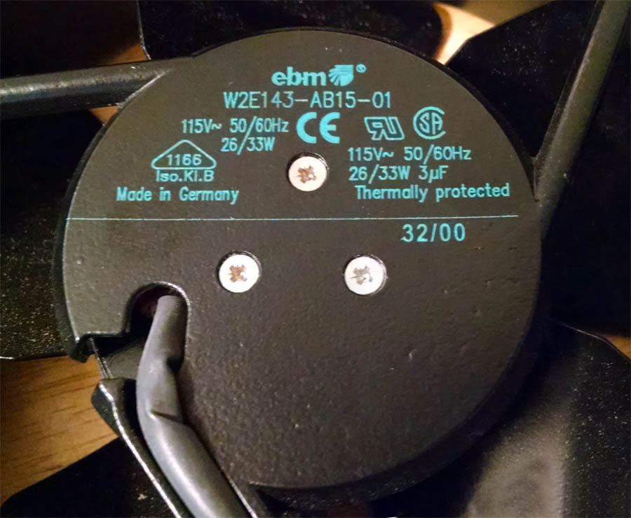 EBM W2E143-AB15-01 115VAC 50/60Hz 26/33W thermally protected fan