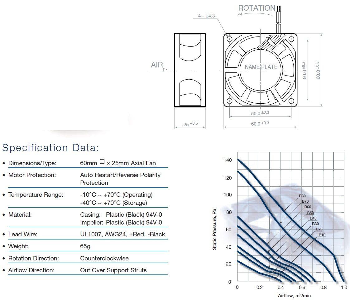 NMB 2410ML-01W-B39-XA1 5VDC/5V 3pin/Wire Ball Bearing Fan